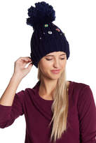 Cara Accessories Pompom Knit Beanie With Flower Detailing