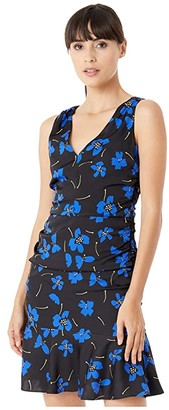 Milly Butterfly Floral Stretch Silk Pam Dress (Cobalt Multi) Women's Clothing
