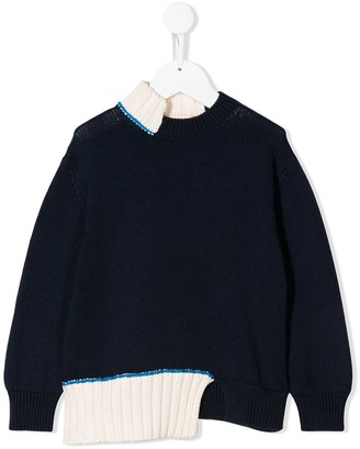 Marni Asymmetric Distressed Ribbed Detail Jumper