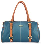 Timi & Leslie Infant Girl's 'Madison' Faux Leather Diaper Bag - Blue