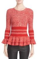 Alexander McQueen Women's Ruffle Trim Wool Blend Sweater