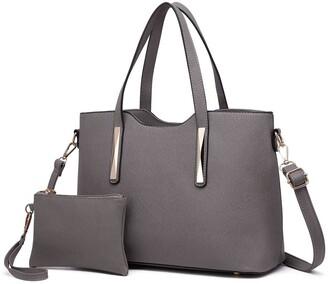Miss Lulu 2pcs Fashion Casual Totes Handbag Purse Set Vibrant Saffiano PU Leather Bags for Women Girls (grey)