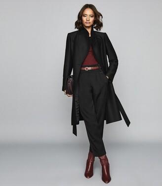 Reiss Deya - Wool Blend Belted Coat in Black