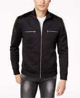 INC International Concepts Men's Zip-Front Jacket With Faux Leather Piecing, Created for Macy's