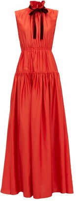 Roksanda Giona Tie-neck Tiered Crepe Dress - Womens - Red