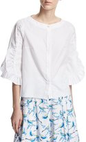 Peter Pilotto Picot-Trim Poplin Blouse, White