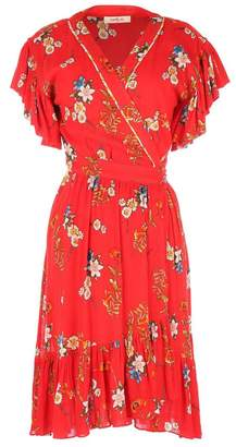 Derhy Floral Print Wrapover Dress with Ruffled Sleeves and Hem