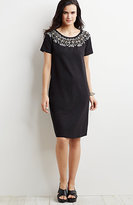 J. Jill Embroidered-Neckline Cotton Dress