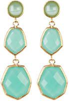 Rivka Friedman 18K Gold Clad Triple Dangle Deco Design Faceted Mint Chalcedony Crystal Earrings