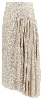 Rochas Asymmetric Sequinned Skirt - Silver