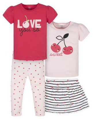 Gerber Baby Girls & Toddler Girls T-Shirts, Skort & Leggings, 4pc Outfit Set (12M-5T)