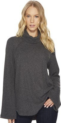 Michael Stars Women's Madison Brushed Sweater Rib Long Sleeve Turtleneck Raglan