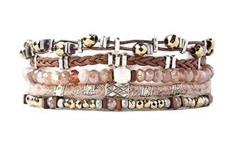 Chan Luu Brown Mineral Stone Mix Multi Strand Mixed Metal Pull Tie Brown Leather Bracelet