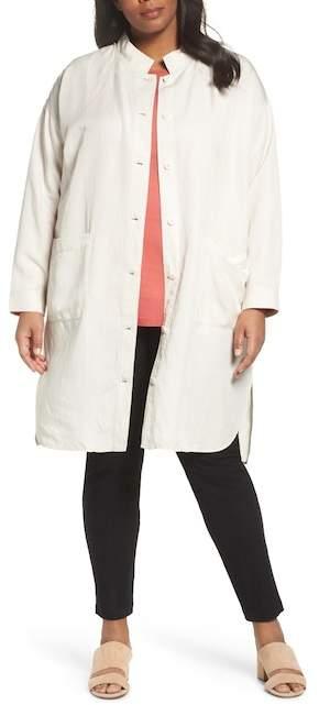 Eileen Fisher Long Tencel Lyocell & Linen Jacket (Plus Size)