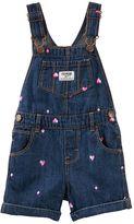 Osh Kosh Baby Girl Embroidered Heart Denim Shortalls