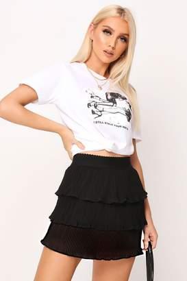I SAW IT FIRST Plisse Tiered Frill Mini Skirt