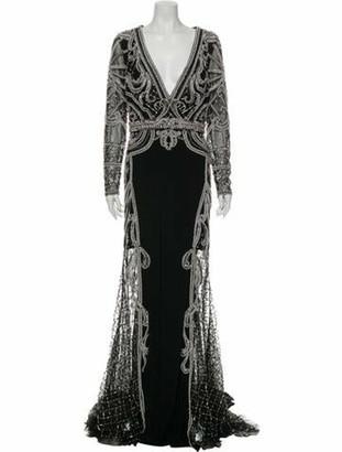 Jovani V-Neck Long Dress Black