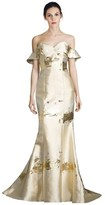 Alberto Makali Metallic Off-the-shoulder Gown.