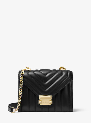 MICHAEL Michael Kors MK Whitney Small Quilted Leather Convertible Shoulder Bag - Black - Michael Kors