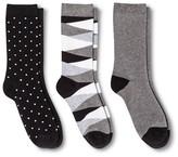Merona Women's Crew Socks 3-Pack Triangle Geo Black One Size