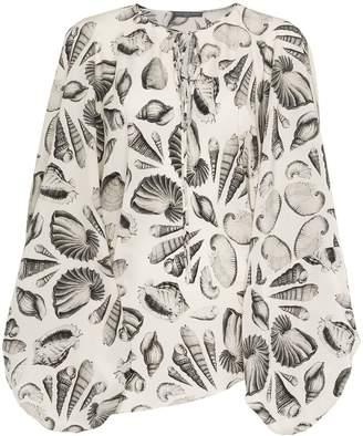 Alexander McQueen tie neck shell print silk blouse