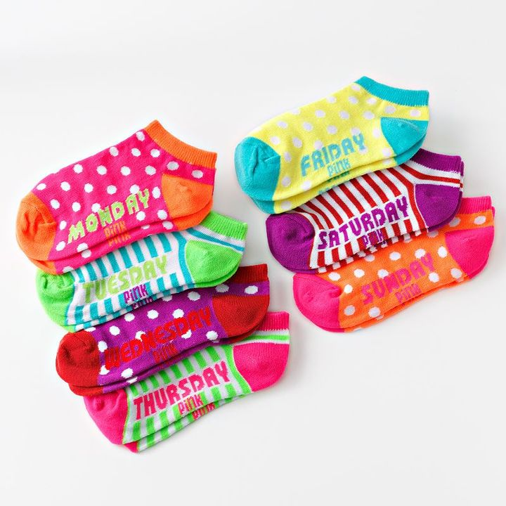 Pink Cookie 7-pk. days of the week no-show socks - girls