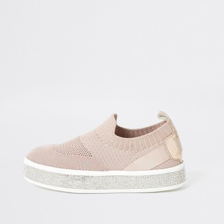 River Island Girls Pink knitted diamante trainers