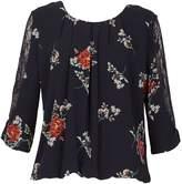 Izabel London Floral Print Lace Sleeve Top