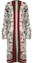 River Island Womens Cream floral print tie cuff longline kimono