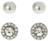 AK Anne Klein Faux Pearl & Cushioned Stud Earrings
