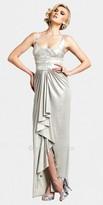 Mignon Desert Silver Scoop Neck Draped Evening Dresses