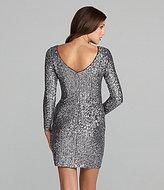 Aidan Mattox Aidan Long-Sleeve Metallic Sequin Dress