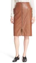 Tibi High Waist Zip Front Leather Skirt