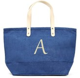 Cathy's Concepts 'Nantucket' Monogram Jute Tote - Blue