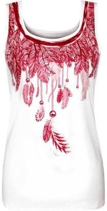 Deelin Women Fashion Summer Sleeveless Round Neck Feathers Print Sexy Slim Tank Tops T-Shirt Casual Vest Red