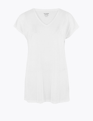 Marks and Spencer V-Neck Relaxed Longline T-Shirt