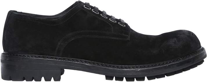 Dolce & Gabbana Stone Washed Suede Derby Lace-Up Shoes
