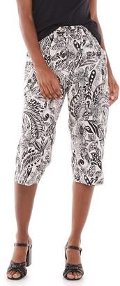 Gloria Vanderbilt Women's Marjorie Print Pull-On Capri Pants
