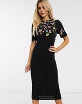 Asos Design DESIGN embroidered midi dress
