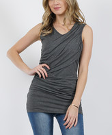 42pops 42POPS Women's Tunics Charcoal - Charcoal Two-Tone Sleeveless Ruched Top - Women