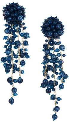 Oscar de la Renta Beaded Cascade Clip-On Drop Earrings