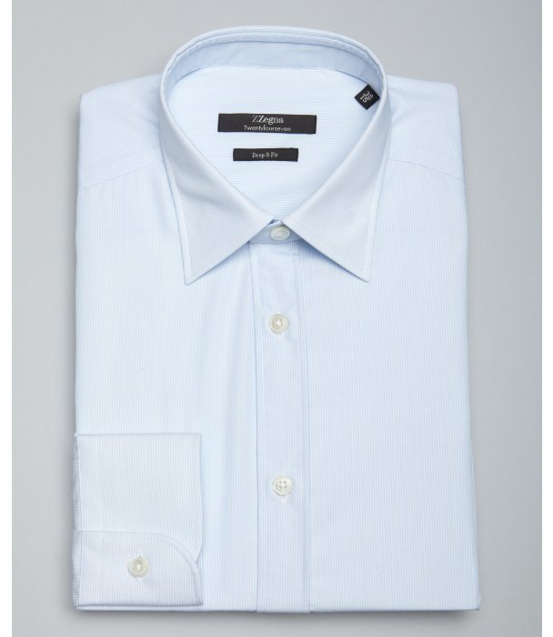 Z Zegna light blue tonal thin stripe cotton spread collar dress shirt