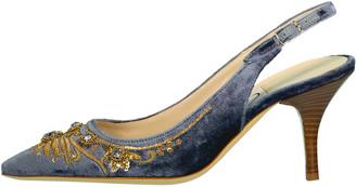 Emma Hope Shoes Blue English Rose Slingback Heel