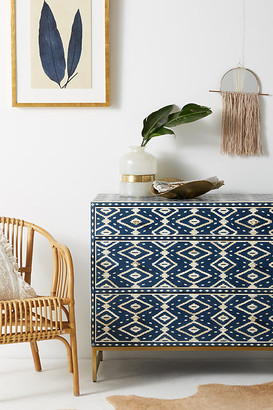 Anthropologie Ikat Inlay Three-Drawer Dresser By in Blue Size ALL