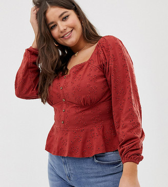 Asos DESIGN Curve top in broderie with button front and peplum