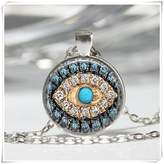 Flowers Good Luck Talisman Art Pendant Jeweled Evil Eye Necklace