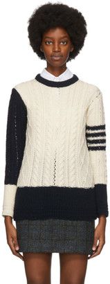 Thom Browne Off-White and Navy Wool Aran Cable 4-Bar Sweater