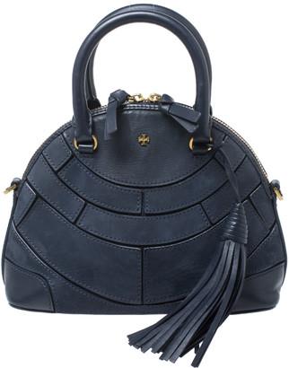 Tory Burch Navy Blue Leather Small Dome Tassel Robinson Crossbody Bag