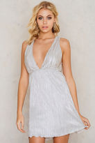 Plunging V-Neck Pleated Dress