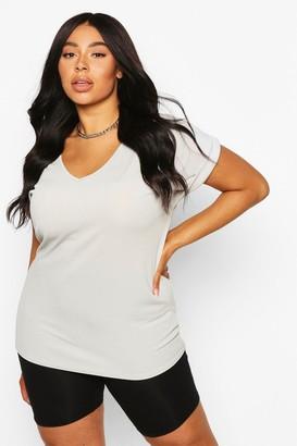 boohoo Plus Basic Rib Oversized T-Shirt